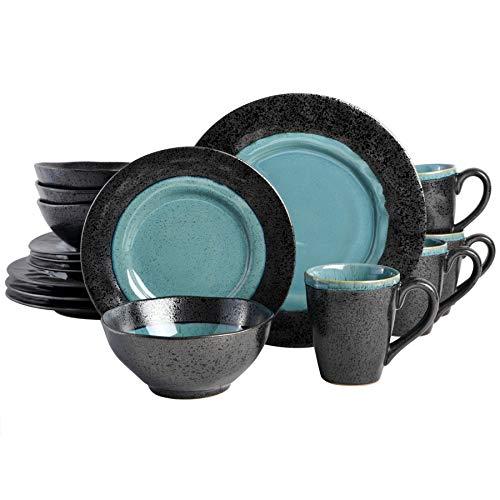 Gibson Dragonstone 16 pc Dinnerware Set Stoneware, Aqua –