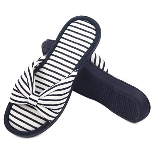 Caramella Bubble Womens Memory Foam Open Toe Slippers |Breathable Summer Slippers with Bow | Cute Stripe Anti-Slip House Slippers (5-6, Black)