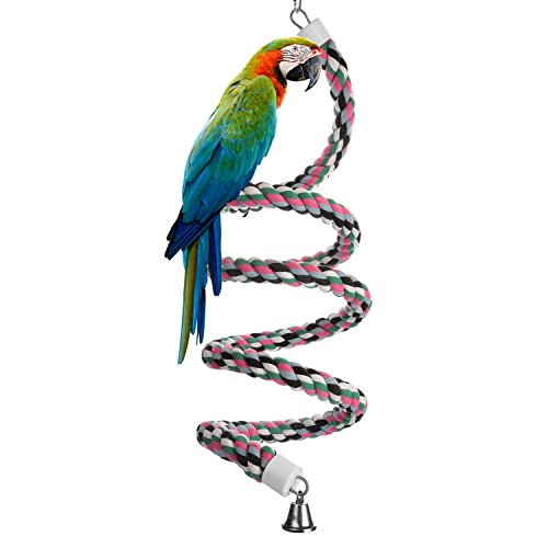 (Aigou Bird Spiral Rope Perch, Cotton Parrot Swing Climbing Standing Toys with Bell (Large - 94.4)