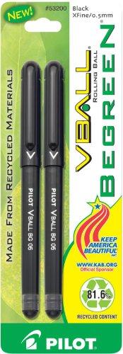 Pilot BeGreen VBall Rolling Ball Pens, Extra Fine Point, 2-Pack, Black Ink - Cross Fine Extra