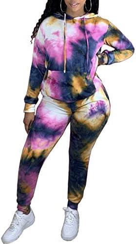 Xibulin Women Tie Dye 2 Piece Outfit Long Sleeve Hoodie Kangaroo Pocket Pullover Top Skinny Pants Tracksuit Set