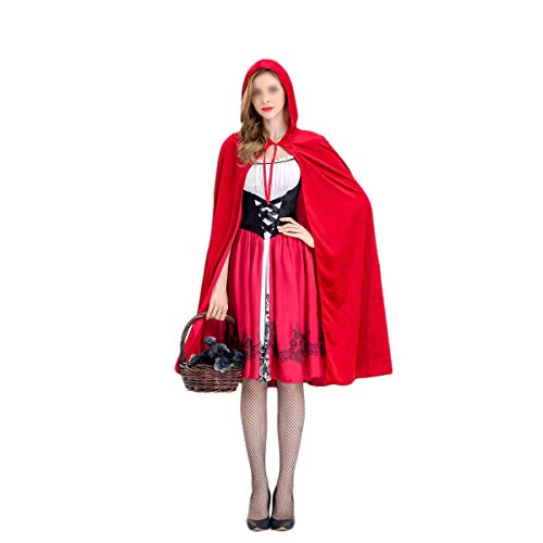 (Womens Halloween Red Riding Hood Peasant Costume Cosplay Masquerade Prop as pic)