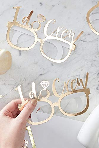 Ginger Ray Gold I Do Crew Glasses Set of 8 Style ID-414, Gold ()
