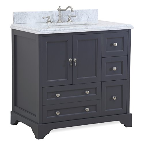 Madison 36-inch Bathroom Vanity Carrara Charcoal Gray Includes Italian Carrara Marble Top, Charcoal Gray Cabinet with Soft Close Drawers Doors, and Rectangular Ceramic Sink