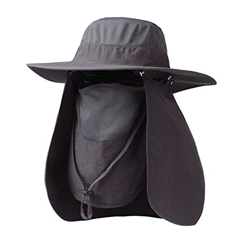 KOOLSOLY Outdoor Sun Cap for Men Women,Fishing Hat UPF 50+ UV Sun Protection with Removable Neck Flap, Face Cover Mask & Windproof Strip, Sun Hat for Outdoor Sports & Travel (Dark Gray)