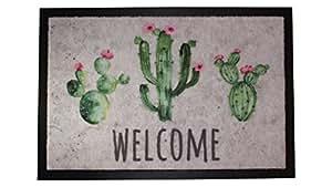 Carpido Lisa de diseño Cactus Felpudo, Fibra sintética, 40x 60x 0,6cm