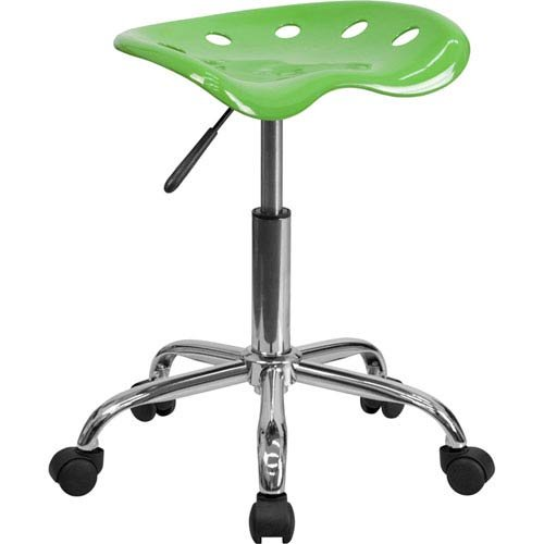 Parkside Vibrant Spicy Lime Tractor Seat and Chrome Stool