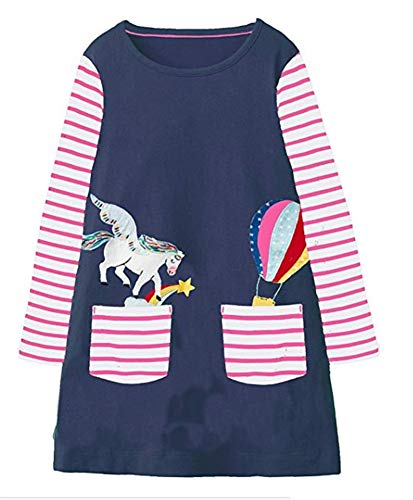 Toddler Girl Unicorn Cotton Dress Stripe Long Sleeve Christmas Raindeer Basic Shirt Dress