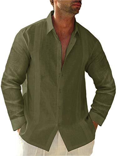 Hestenve Mens Short Sleeve Cuban Camp Guayabera Shirt Linen Cotton Hippie Beach Button Down Shirts