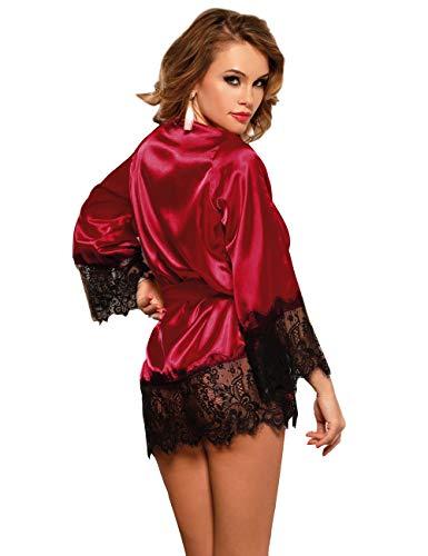 ohyeahlady Femmes Pyjamas Peignoirs en Soie Satin Kimono Jupe de Nuit Lingerie de Chambre Sortir de Bain avec Ceinture…