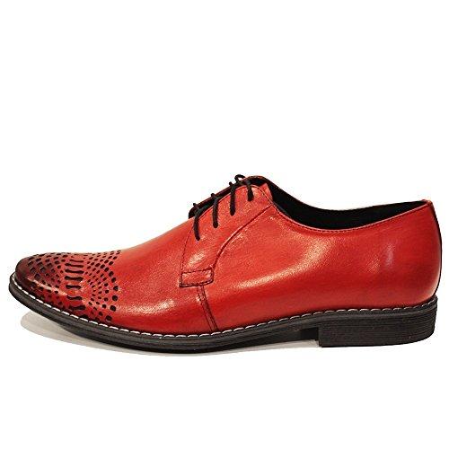 PeppeShoes Modello Redatto - Cuero Italiano Hecho A Mano Hombre Piel Rojo Zapatos Vestir Oxfords - Cuero Cuero Pintado a Mano - Encaje