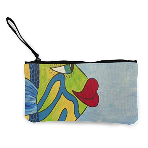 - Coin Purse Original Art Fish Painting Men Zip Canvas Purses TravelTrendy Case