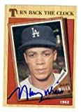 Maury Wills autographed baseball card (Los Angeles Dodgers) 1987 Topps #315 Turn Back The Clock Tiffany