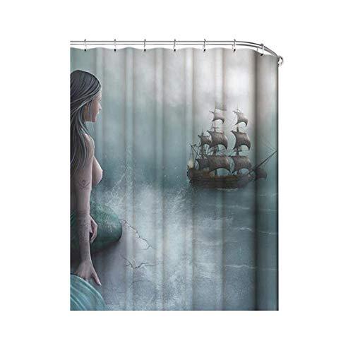 rideau de douche num/érique HVTKL Size : 180 * 200 rideau de douche imprim/é HVTKL Rideaux num/ériques sir/ène marine