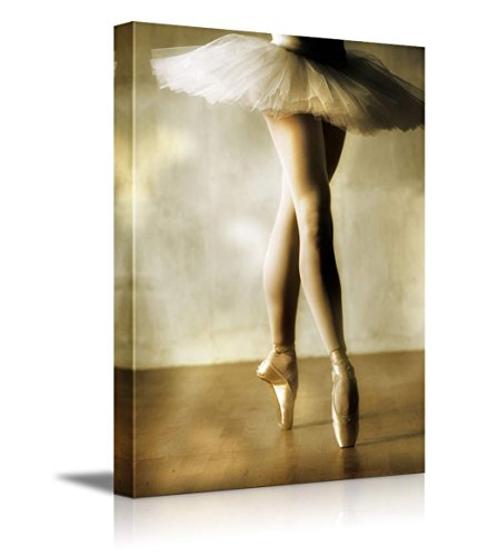 Beautiful Ballerina Dancing with White Tutu Wall Decor ation
