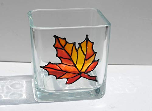 Orange Maple Leaf Hand Painted Stained Glass Square Candle Holder