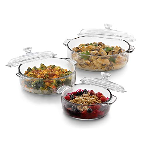 Dish Baking Shaped (Libbey Baker's Basics 3-Piece Glass Casserole Baking Dish Set with Glass Covers)