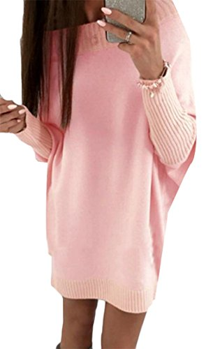 Top Cromoncent Dresses Casual Women's Crewneck Batwing Ribbed Swing Pink Sleeve Knitted AFaxA