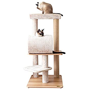Image of Catry, Large Cat Tree Tower with Scratching Post Cradle and Tunnel for All Cats, Wooden Pet Supplies