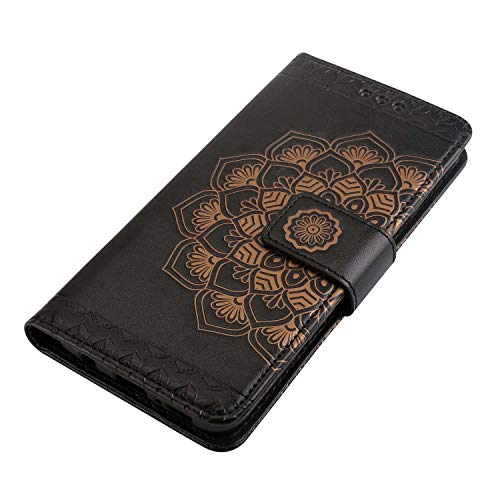 Galaxy S9 Case, Bear Village Leather Wallet Cover, Anti-Scratch Embossing PU Case with Magnetic Closure and Card Slots for Samsung Galaxy S9 (#9 Black) by Bear Village (Image #3)
