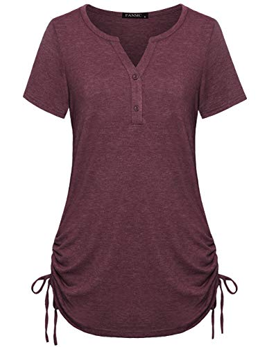 FANSIC Womens Casual Short Sleeve Blouse Tops,3/4 Sleeves Adjustable Drawstring Sides Shirring Henley Shirts Brick Red XL