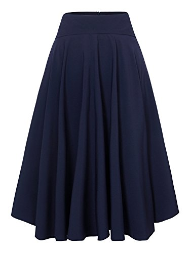 Women Royal Blue High Waist Midi Skater Skirt L