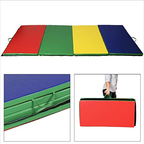 New 4'x10'x2″ Gymnastics Mat Folding Panel Thick Gym Fitness Exercise Multicolor New
