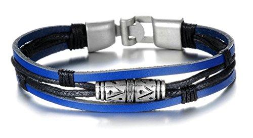Anazoz Genuine Leather Braided Rope Retro Aolloy Buckle Bracelets Width 21.5*1cm Blue and Black Men's (10k Gold Tone Earrings)