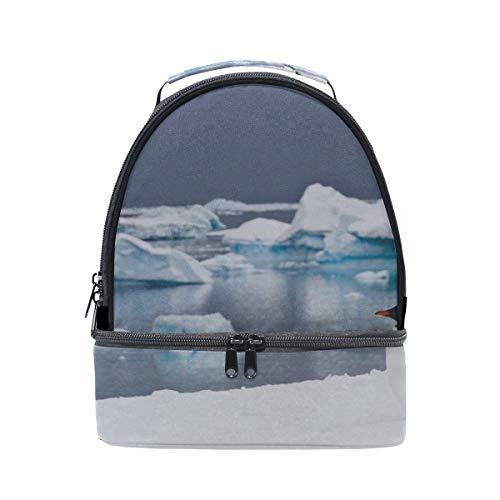Cute Penguin Dump On Iceberg Portable School Shoulder Tote Lunch Bag Handbag Kids Double Lunch Box Reusable Insulated Cooler For Women Student Travel ()