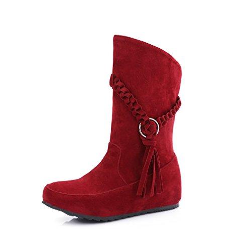 Mfairy Womans Fashion Primavera / Autunno Casual A Metà Polpaccio Slip On Boots Tacco Nascosto Plus Size Stivali Rossi