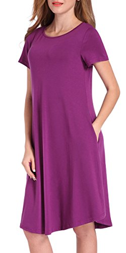 Women's Airy Purple Cotton Blend Short Sleeve Simple Top Dresses With Pockets L (A-line Maternity Shorts)