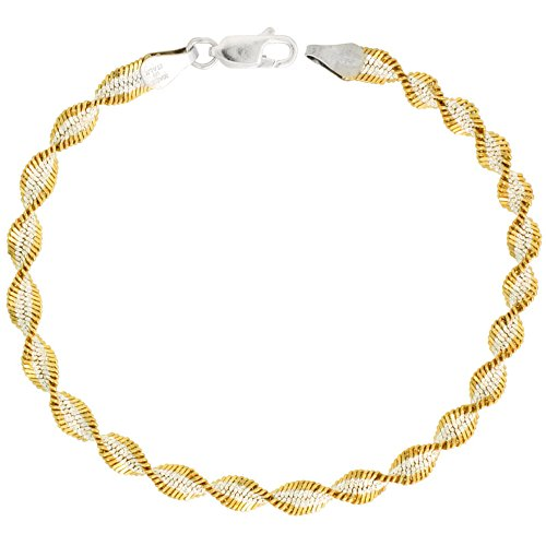 Gold Plated Two tone Sterling Silver Twisted Herringbone Chain Necklace 5mm Italy 20 ()