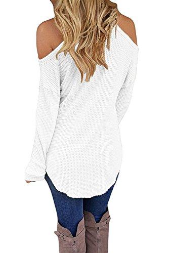 Tunica Fredda Manica Bianco V Maglietta Sexy Camicetta Camicie Lunga Elegante Minetom Spalla Blusa Camicie Donna Collo CwqtnU0Z