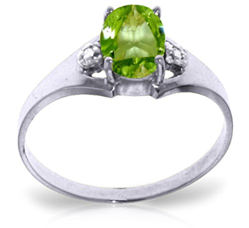 0.76 Carat 14k Solid White Gold Ring with Genuine Diamonds and Natural Oval-shaped Peridot - Size 9 by Galaxy Gold