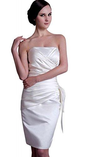 Abendkleid Einfache Weiß traegerlosen knielangen BRIDE GEORGE wzSHqH