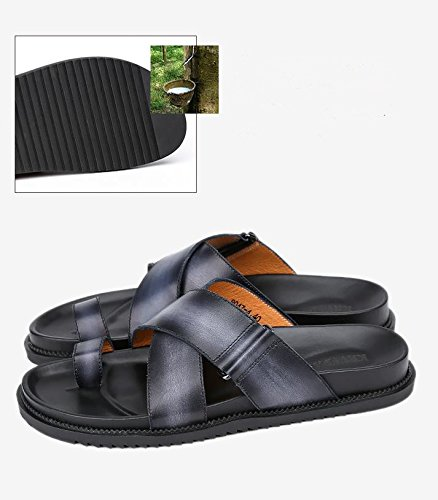 Fashionable Men for Black Shoes Leather Beach Summer Leather Comfortable Male Slippers Shoes Casual Genuine Yao Beach Zq6YSSw