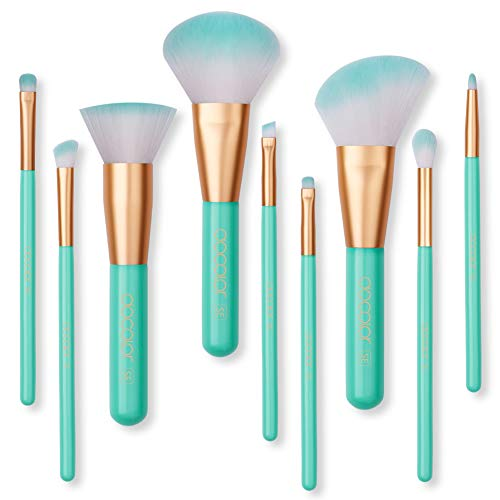 Makeup Brushes Set Docolor 9Pcs Cosmetic Makeup Brushes Premium Synthetic for Foundation Blending Blush Powder Blush Concealers Eye Shadows Brushes Kit(Mint-Green)