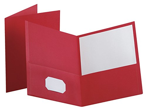 Oxford 2 Pocket Heavy Duty Folders, 11 x 8-1/2 Inches, Red, Pack of 25 - Oxford Two Pocket