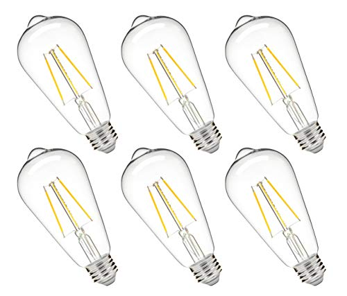 - Hyperikon 5W Dimmable ST64 LED Vintage Filament Bulb, 520 lumen, 3000K, E26 Base, UL, 6-Pack - Great for pendants, sconces and other decorative lighting