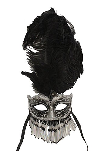 Mask Beaded Masquerade (RedSkyTrader Mens Beaded Mask with Feathers One Size Fits Most Silver And)