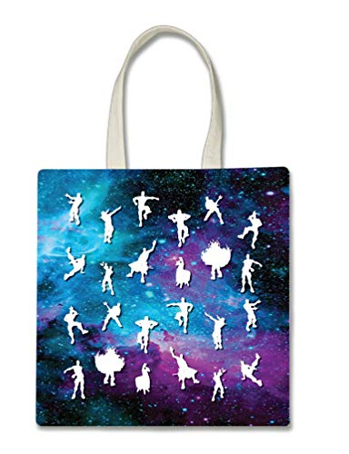 Dance Moves Halloween Trick Or Treat Polyester White Tote Bag 15x16x 3.5]()