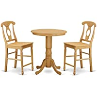 East West Furniture EDKE3-OAK-W 3 Piece Pub Table and 2 Counter Height Dining Chair Set, Oak Finish
