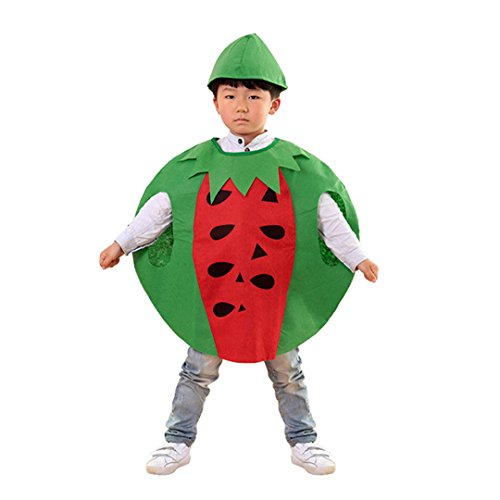 Multifit Kids Halloween Watermelon Costume with Hat&Candy Bag Costume Accessory(Green)