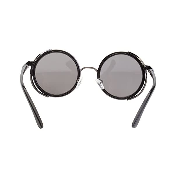 Sunclassy Metal Frame Side Shield Oval 52mm Hipster Round Sunglasses Vintage Retro Steampunk Gothic Hippie Circle Retro (Black, Black) 6