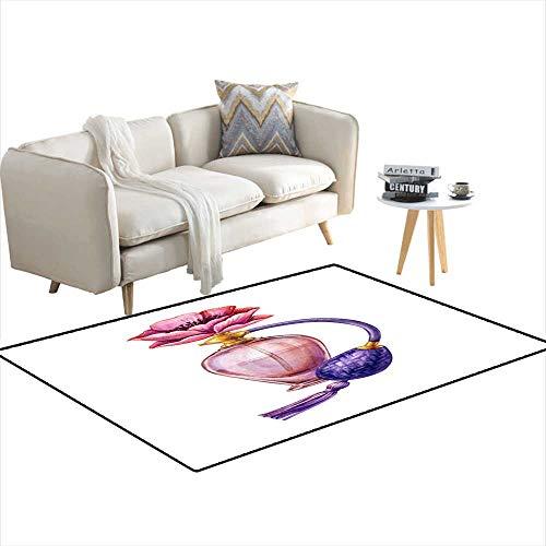 (Kids Carpet Playmat Rug Watercolor Perfume jar Set Blank Cosmetics Bottles Clip Art Fashion Illustration isolateon White Background 3'x16')