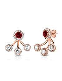 Sterling Silver Front Back 2 in 1 Cubic Zirconia and Created Ruby Halo Earrings and Ear Jacket Cuff Set.