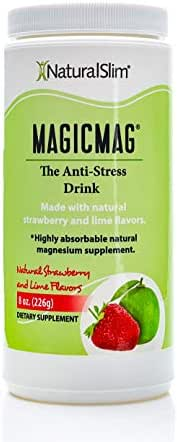 NaturalSlim Anti Stress Drink - Pure Magnesium Citrate Powder with Organic Strawberry and Lime Flavor - Natural Aid to a Slow Metabolism, Constipation & Sleeping Difficulties - 8 oz (Solo Pack)