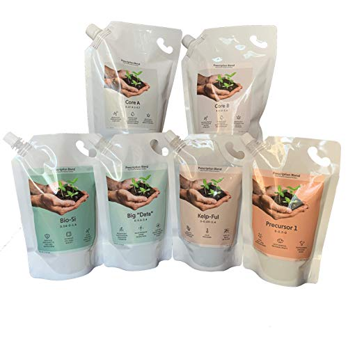 Prescription Blend - Plant Nutrients Optimized in Medical Gardens - for Hydroponic, Coco or Soil: 6 Part Complete Kit - 2 Quarts & 4 Pints Makes Over 100 Gallons of Nutrient Solution