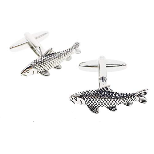 Cuff-Arts Cufflinks for Men Animal Carp Fish Cufflinks with a Gift Box ()