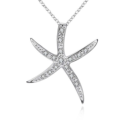 Starfish Jewelry for Women Starfish Necklace Sterling Silver Starfish Pendant (Sterling Starfish Pendant)